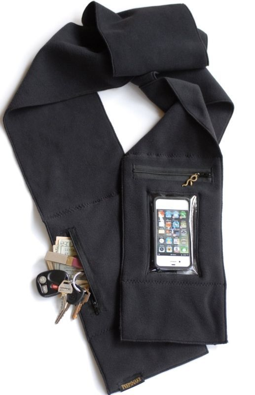 Behold The Scarf With Incorporated Wallet & iPhone Pockets