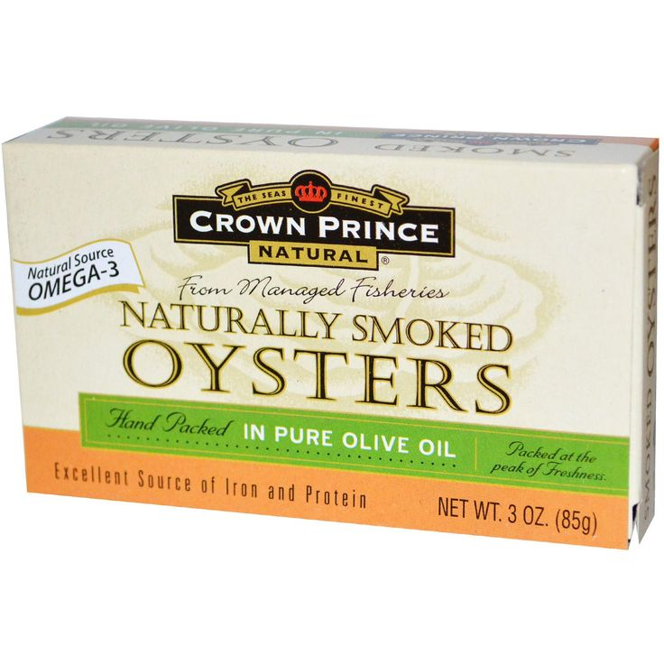 Crown Prince Natural, Naturally Smoked Oysters, in Pure Olive Oil, 3 oz (85 g) - iHerb.com