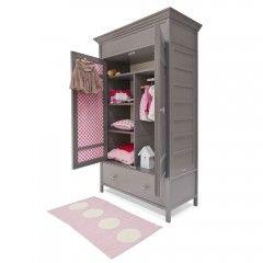 Kinderkledingkast Rebber in Droomgrijs bekleding madelief roze