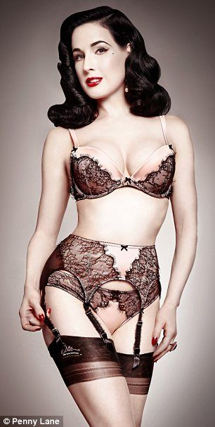 Old-world glamour: Ms Von Teese drew inspiration from her vast collection of vintage lingerie, primarily hailing from the Forties and Fifties
