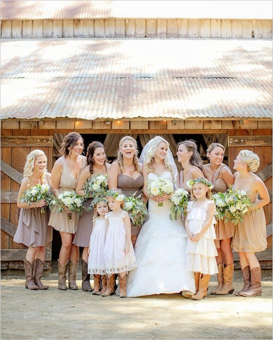 assorted tan bridesmaid dresses with boots @weddingchicks