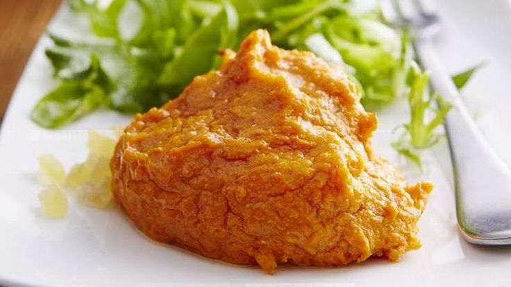 These mounds of flavorful mashed sweet potatoes nicely accompany turkey, ham and pork.  They're even more impressive when piped into rosettes.