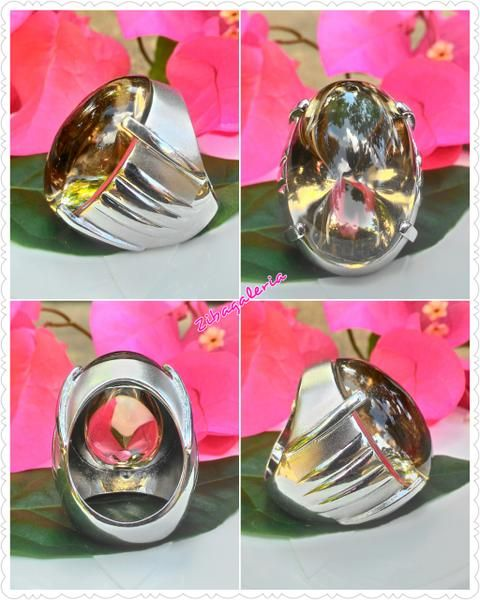 Cincin Permata Kecubung Teh Super - Natural Large Smoky Quartz Series Alpaka Ring Size 8 (18)