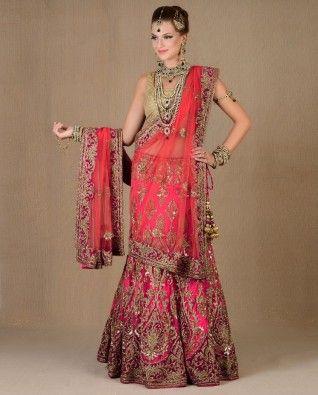 #Exclusivelyin, #IndianEthnicWear, #IndianWear, #Fashion, Fuchsia Heavily Embellished Lengha Set