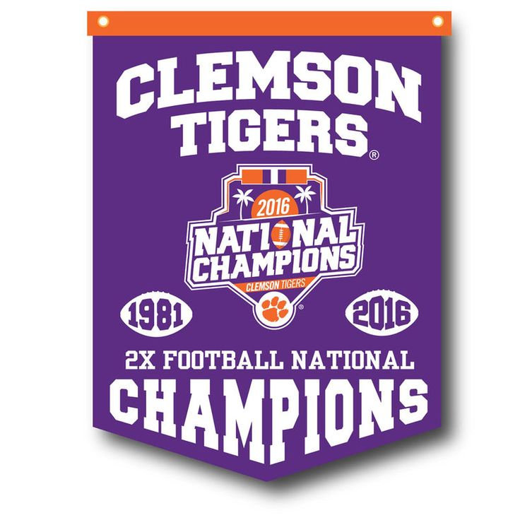 Clemson Tigers College Football Playoff 2016 National Champions Rafter Banner - Purple