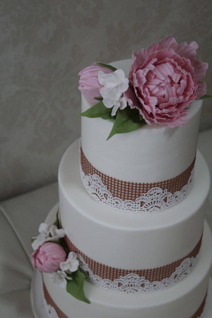 Burlap and Lace Wedding cake with Sugar Flowers including Peonies and Hydrangea