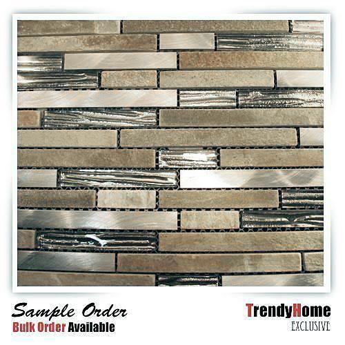 1 Sf Silver Glass Stainless Steel Natural Stone Blend Mosaic Tile Backsplash