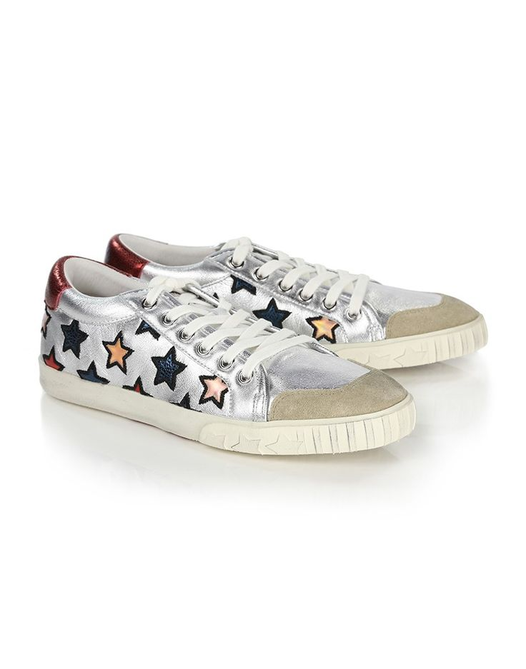 The ASH Majestic Star trainers have an eye catching design which will liven up any outfit. Crafted from premium silver leather with a multi-coloured star motif across the sides, these shoes have classic lace up fastenings with beige toes and a hand distressed finished, giving the trainers a vintage look which is sure to make a fashion statement for the seasons ahead.