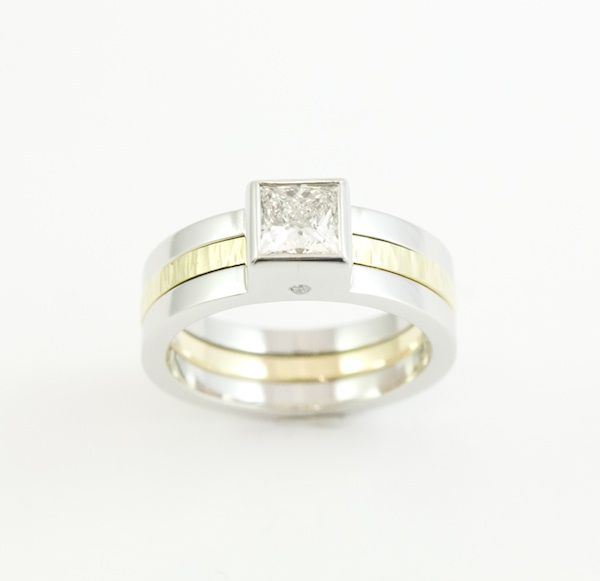 Platinum and 18ct yellow gold engagement/ wedding combination ring with princess cut diamond.  http://www.designworksstudio.ie/shop/platinum-and-18ct-yellow-gold-engagement-wedding-combination-ring-with-princess-cut-diamond/