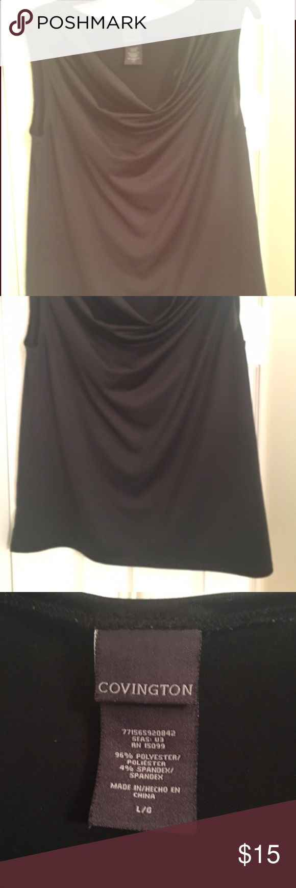 Stylish black cow neck blouse Beautiful black cow neck blouse, dress it up or down. Good condition. Always air dried. Covington Tops Blouses