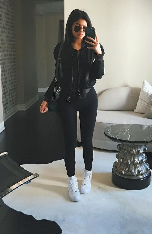 Black tank top - black jacket - black leggings - white high tops