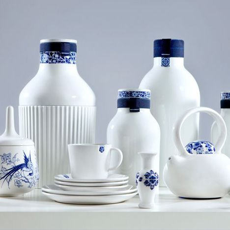 Traditional Dutch porcelain company Royal Delft have launched a new contemporary brand, Blue D1653, including this set by Arian Brekveld that looks as though the blue emblems have slipped down the rim of each dish.