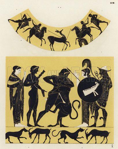 Hercules fighting the Nemean Lion. Illustration of Greek vase painting.  - German school 19th century