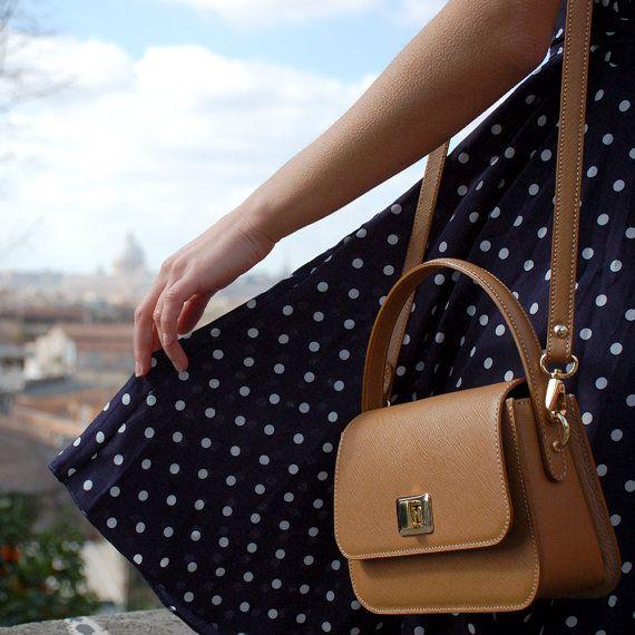 Mini handbag crossbody beige leather  saffiano bag purse