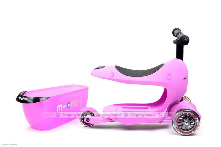Micro Mini2Go, w kolorze różowym, to jeździk i hulajnoga Mini Micro w jednym :-). Micro Mini2Go - dwa pojazdy... jeździk z bagażnikiem i hulajnoga Mini Micro z regulowaną wysokością drążka. Sprawdzona konstrukcja hulajnogi Mini Micro posłużyła jako podwozie dla jeździka Mini2Go, nadwoziem jest duże siedzisko z miejscem na oparcie stóp, a co najważniejsze z dużą częścią bagażową. http://www.aktywnysmyk.pl/micro-mini2go-jezdzik-i-hulajnoga/1453-micro-mini2go-pink-jezdzik-i-hulajnoga.html