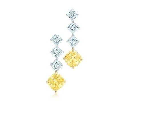 Orecchini con diamanti colorati  Tiffany