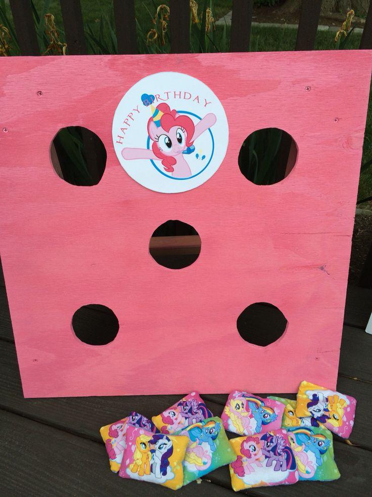 Pinkie pie, my little pony, bean bag toss, DIY birthday party.