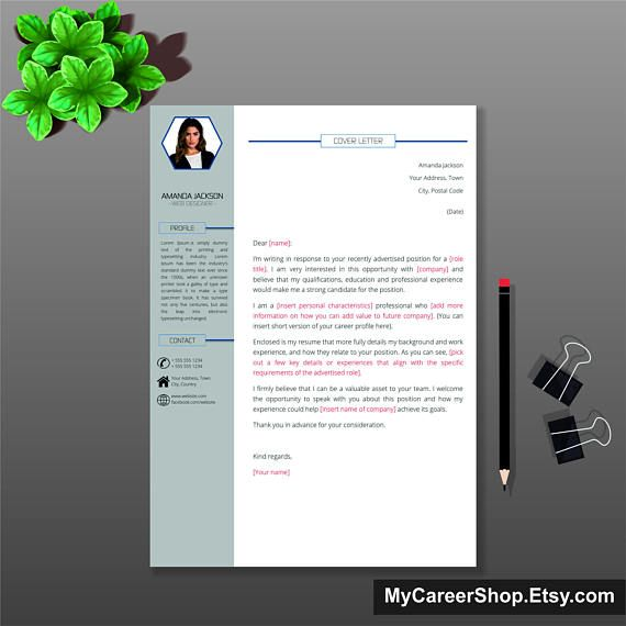 Modern Cover Letter Template Letterhead Design Word Simple Instant Download
