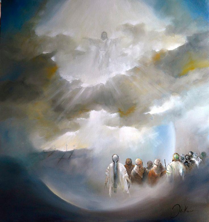 """Donderdag is het HEMELVAARTS DAG...passend hierbij is het schilderij uit de serie :"""" IN VERWONDERING"""" doekmaat 150-160 -origineel is te zien in de Sint jans kerk in Gouda  Lucas 24:50: Toen nam Jezus hen mee naar Bethanie,Hij hief Zijn handen op en zegende hen.Terwijl Hij dat deed werd Hij opgenomen in de Hemel.Zij vielen in aanbidding voor Hem neer.Daarna gingen ze met grote vreugde terug naar Jeruzalem.."""