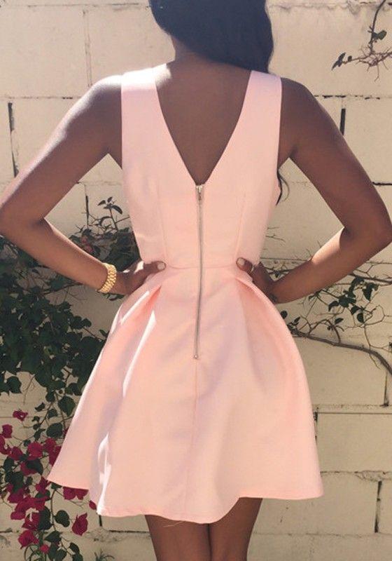 Pink Plain Pleated Zipper V-neck Sleeveless Sexy Mini Dress - Dresses