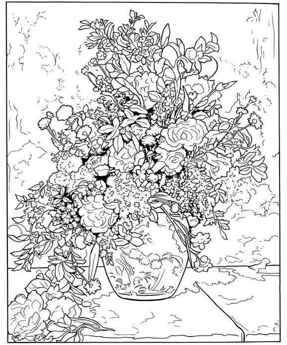 Colouring Pages Of Flowers In Vase : 106 best coloring for adults: flowers images on pinterest