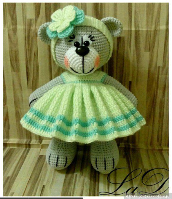 Игрушка вязанная спицами — мишка в платье, с описанием Платье крючком! 1. 36вп. Сс с 7-ой петлей от крючка, 3