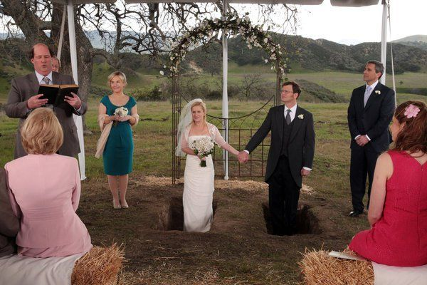 Pin for Later: The Ultimate Movie and TV Weddings Gallery The Office In the series finale, Dwight (Rainn Wilson) and Angela (Angela Kinsey) make it official, with even Michael (Steve Carell) there as best man.