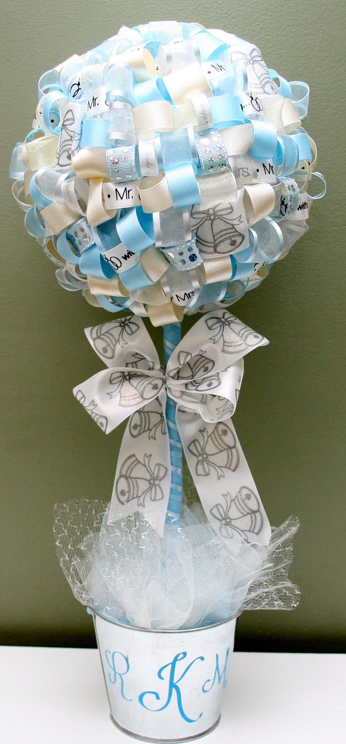 Bridal shower large wedding reception ribbon topiary