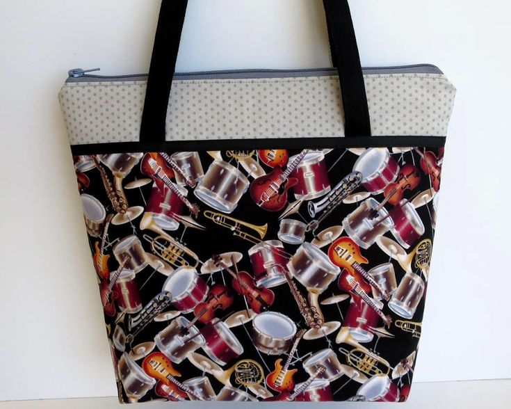 Music Handbag, Shoulder Bag, Zip Closure with Two Internal Pockets, Music Tote, Musicians Bag, Gift for Musician, Violin, Drums, Guitar by RachelMadeBoutique on Etsy https://www.etsy.com/au/listing/523242995/music-handbag-shoulder-bag-zip-closure