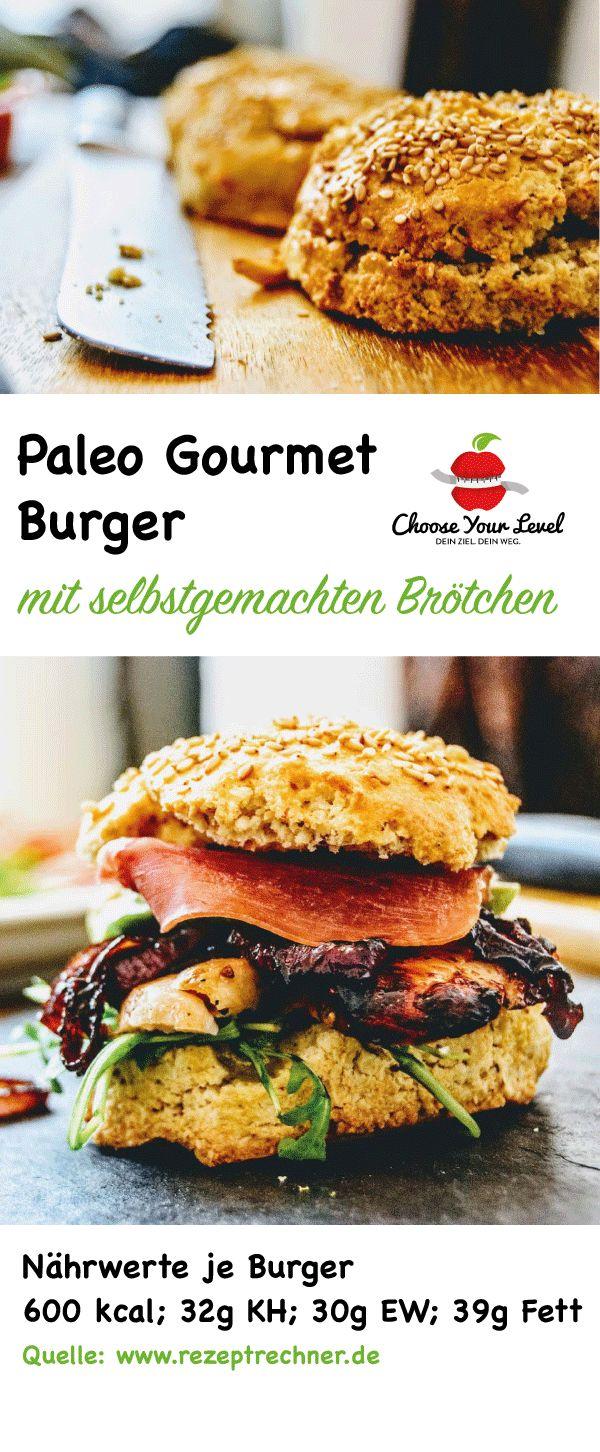 Paleo Gourmet Burger - geeignet für Steinzeit Ernährung, Steinzeit Diät, glutenfreie Ernährung ohne Zucker und ohne Weizen - mit selbstgemachten Brötchen