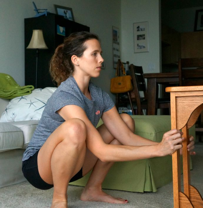 Assisted deep squat - hold the move for up to 1 mintue to relase tight hips and low back