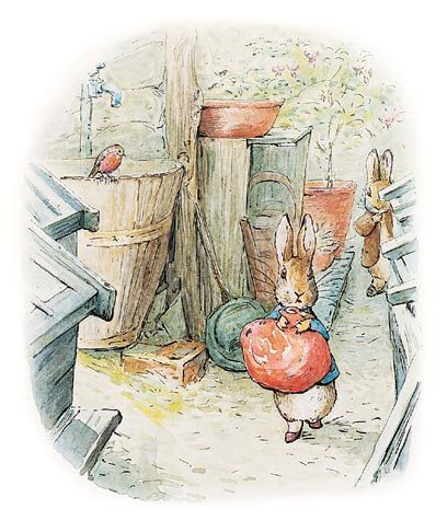 "Beatrix Potter's 'The Tale of Benjamin Bunny' (1904). ""Peter was a step or two in front of his cousin, when he suddenly stopped."""