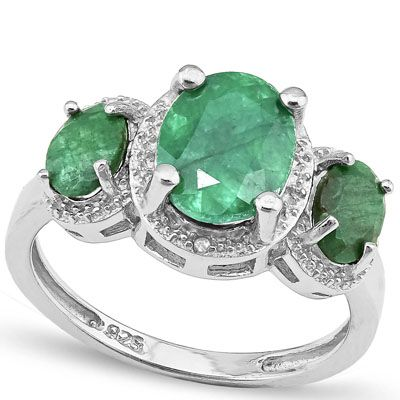 #1271 Today-Tomorrow-Forever Emerald Platinum Over Sterling Ring