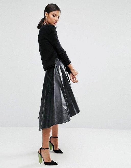 ASOS   Короткая расклешенная юбка из искусственной кожи ASOS