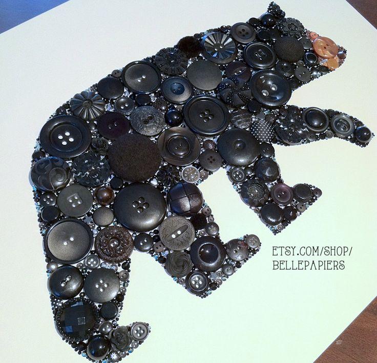 11x14 творческий дар Медведь Кнопка Art Черный Американский по BellePapiers