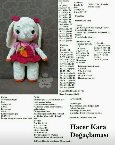 Amigurumi elbiseli örgü oyuncak tavşan modelleri yapılışı anlatımlı