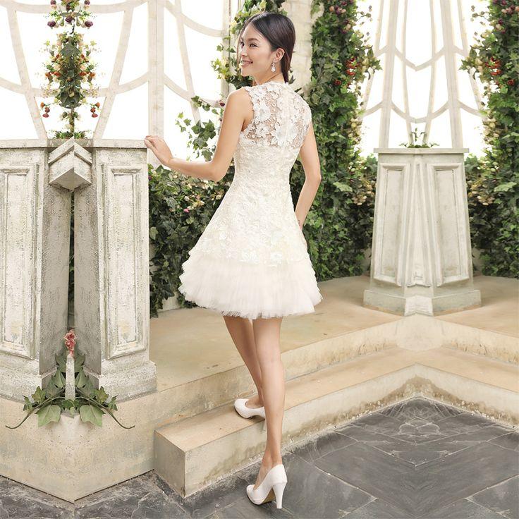 Aliexpress.com : Buy Free shipping Slim 2014 evening dress lace brides maid dress short design white slit neckline dress girl from Reliable dresses sale suppliers on Angel Wedding Dress Co., Ltd .