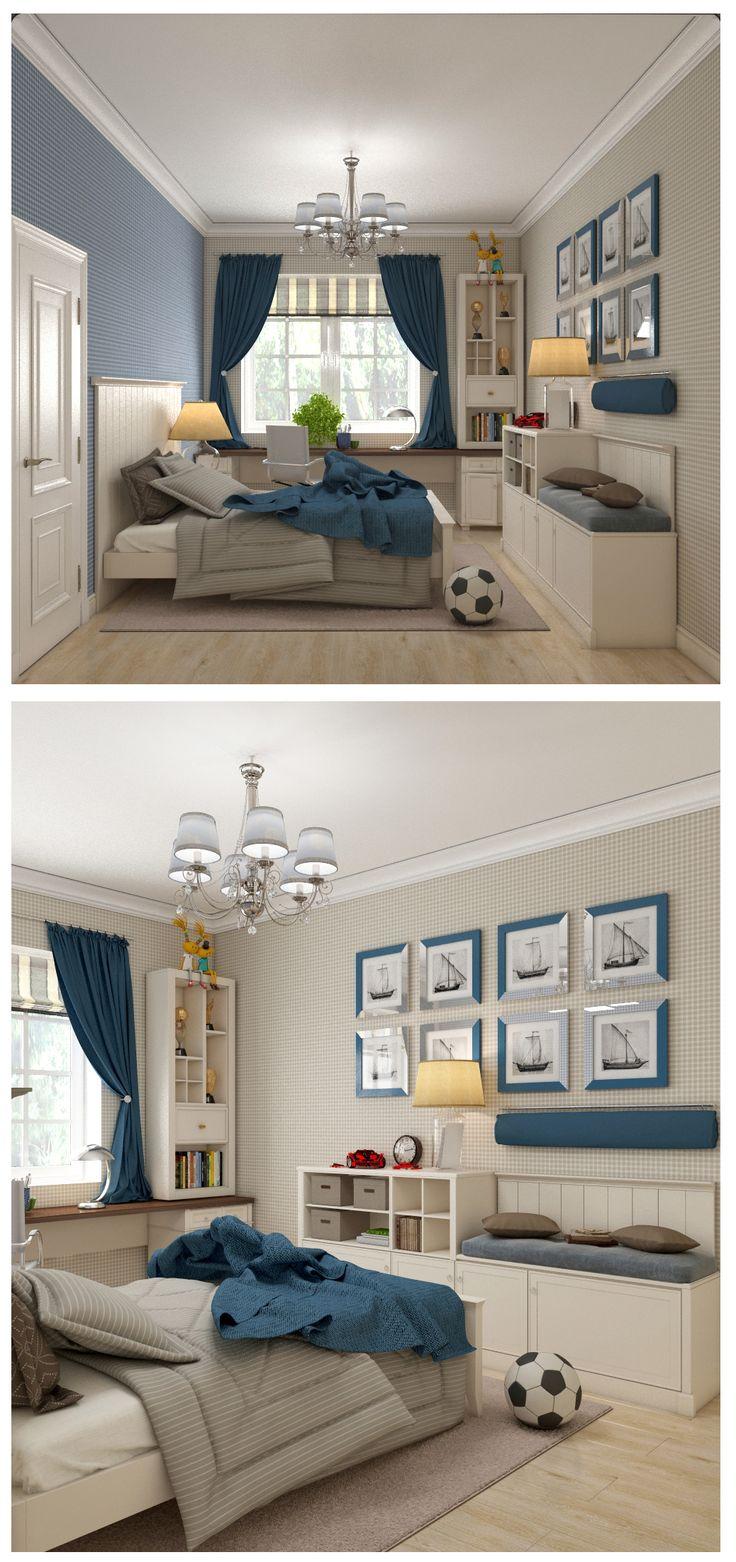 Детская для мальчика, спальня в синих тонах, кантри стиль, оригинальная мебель, стол для детской комнаты под окном