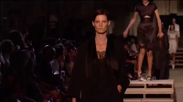 Models Candice Swanepoel & Pooja Mor fall down during Givenchy Spring-Summer 2016 fashion show