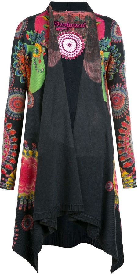Long cardigan with an artful mix of kaleidoscope and floral patterns, a piece with Desigual DNA. V-neck collar 90% Acrylic 10% Wool Hand wash only Brand: Desigual Retailer: House-of-Fraser