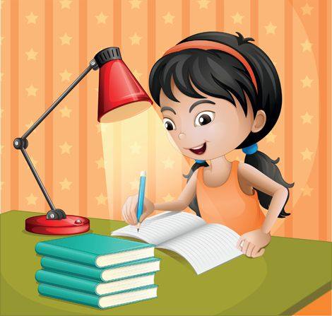 Clipart image of a girl writing at a desk