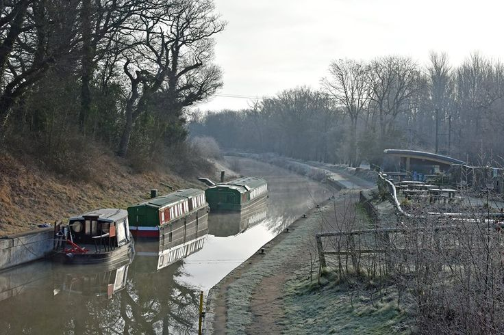 Canal boats on the beautiful Wey and Arun Canal at Loxwood, West Sussex