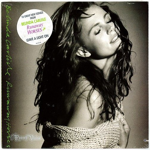 """Runaway Horses"", by Belinda Carlisle, features songs written by Rick Nowels, Ellen Shipley, Charlotte Caffey and a song co-written by Carlisle herself. The album contains an array of guest artists, including George Harrison and Bryan Adams. Six singles were released from ""Runaway Horses"", and were successful in most markets; the album giving Carlisle four more international top ten hits, including ""Leave a Light On"" which became a top 10 hit around the world. (Vinyl LP)"
