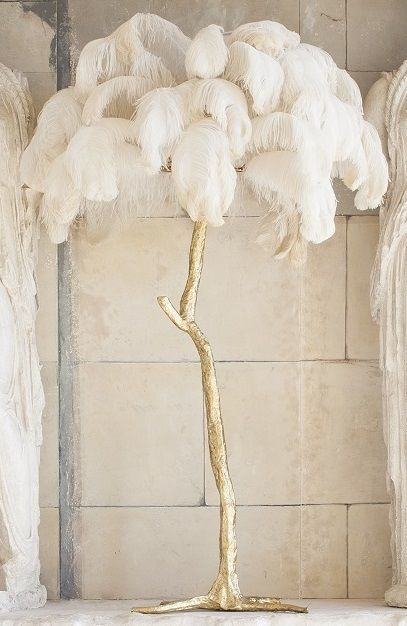 Hollywood Regency style palm tree floor lamp, hand made in Oxfordshire, England. Finished in gold leaf or liquid bronze with ostrich feather shade.