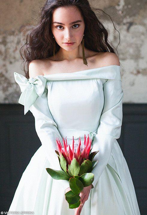 Quinceanera wedding dress silver-green winter wedding dress with sleeves taffeta wedding dress Romantic wedding dress plus size | Adelphi