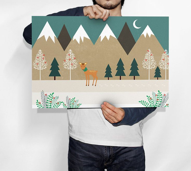 Poster prints, wall art decor, living room, christmas decor, landscape art, kids room, winter mountains, sweet animal, christmas time by GrafPoster on Etsy