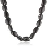 """Sterling Silver Genuine Stone Double Strand Oval Beaded Necklace, 18"""""""