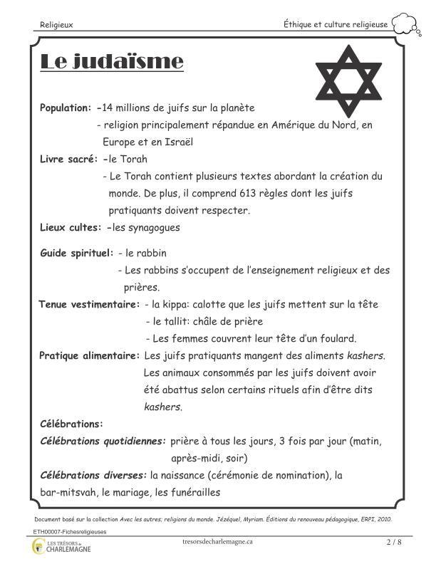 Ce document présente des fiches d'informations sur les principales religions abordées à l'école primaire: le christianisme, le judaïsme, l'hindouisme, l'islam, le bouddhisme et les spiritualités des peuples autochtones. Il peut être très intéressant d'insérer ces fiches dans le duo-tang d'éthique et culture religieuse des élèves afin qu'ils aient un aperçu de chacune des religions. Ce document comprend 8 pages. Vous pouvez jumeler ce document à notre document Quest...