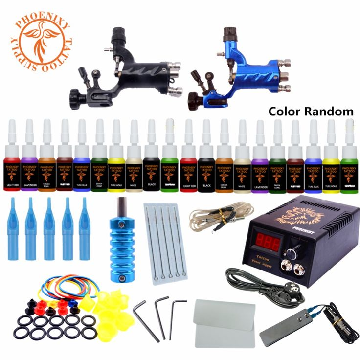Beginner Tattoo Starter Kits 2 Rotary Tattoo Machines Guns 20 Ink Sets Power Supply Needles Top Tattoo Ink Free Shipping #Affiliate