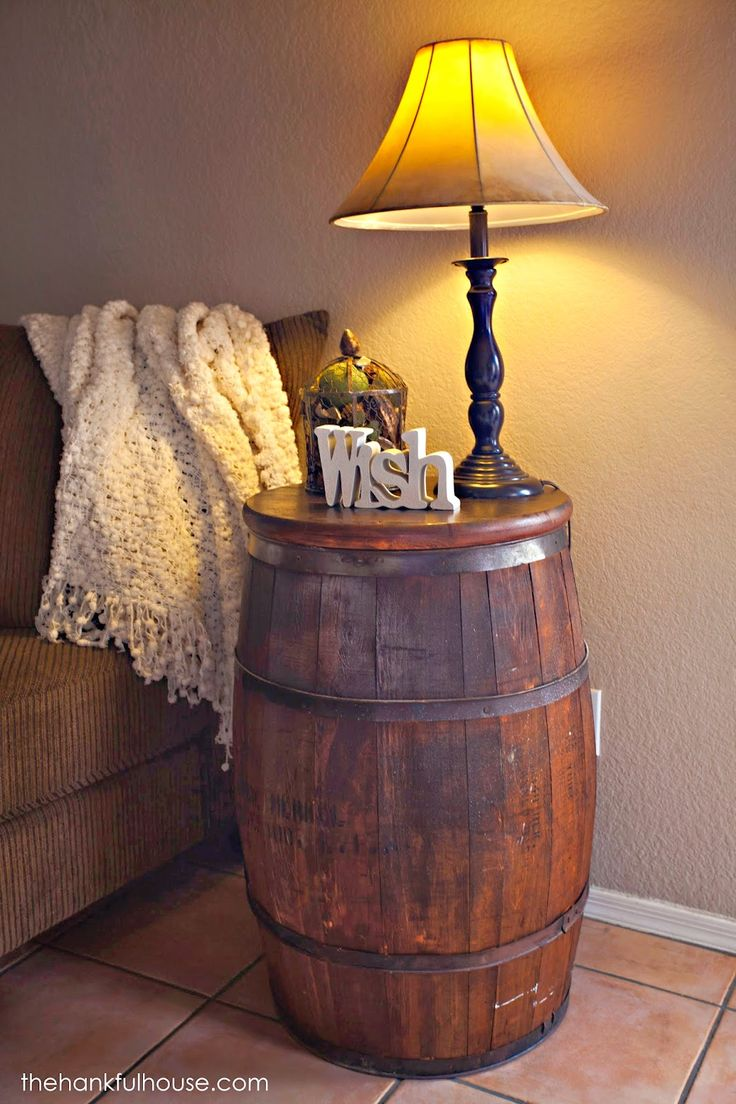 The Hankful House New York Vintage Barrel End Table Barrel Decor Barrel Furniture Barrel Table